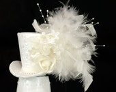 Ivory Wedding Mini Top Hat,Burlesque hat, Wedding hair band, Steampunk hat, , Bachelorette hat, alice in wonderland,Mad Hatter,tea party hat