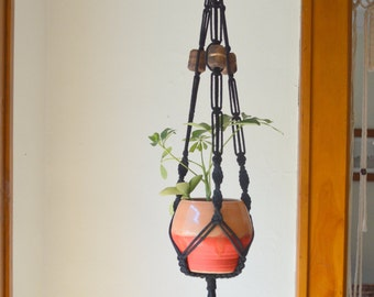 Midnight Walnut Black Macramé Hanging Planter Handmade Beads Cotton Cord