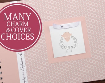 Baby Memory Book Girl   Baby Album Photo Book & Journal   Personalized   Pink Honeycomb with Lamb Charm