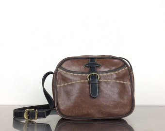 Leather Bag - Vintage Brown Long Strap Purse