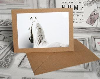White Arab Horse Photo Art Blank Card for Birthdays, Thank yous etc. - Handmade in the UK