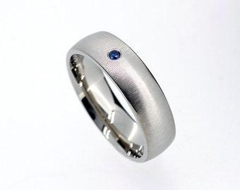 6.00mm Wide Blue Sapphire Wedding Band Made From Palladium, Man Wedding Ring,  Modern