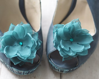 Blue Shoe Accessory, Pins for Shoes, Teal Shoe Clips, Teal Shoe Flowers, Teal Shoe Pins, Engagement Shoe Clip