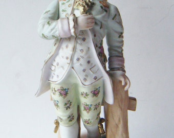 Antique Large Victorian Porcelain Man At Fence Figurine Marked 23/301 Very Detailed