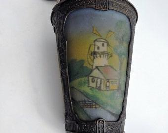 Art Deco Dutch Pendant Lamp. Reverse Painted Design.