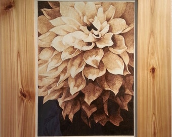 Woodburn art The Flower, Burning on paper, Pyrography, Chrysanthemum, unique framed wall art