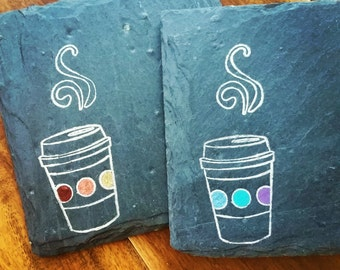 1 READY TO SHIP To Go Coffee Slate Coaster for your Office, Desk, Coworker, Boss