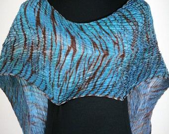 Blue Silk Scarf Pleated Shibori Hand Dyed Luxury Wrap