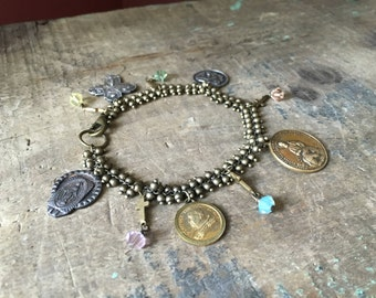 Without Sin- Vintage Religious Medal, Cross & Swarovski Crystal Bracelet