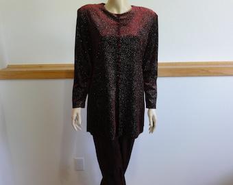 Jbs Elegant Special Occasion Pantsuit, size 12, Maroon, Rhinestone Top, Shimmery Pants, Retro Slacksuit #738