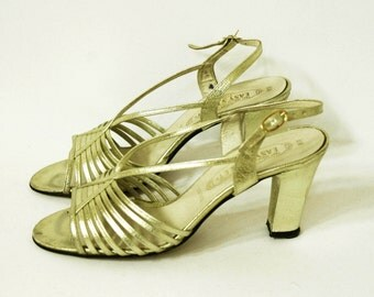 Vintage Gold Metallic Strappy Slingback Heels, Size 8W