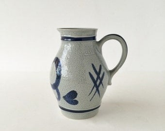 Vintage Original Gerzit Pitcher Cobalt Stoneware Pottery Gerz West Germany, Half Liter Cobalt Stoneware Pitcher