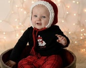 Baby Bonnet, Red Baby Bonnet, Baby Girl Baby Bonnet, Baby Christmas Bonnet, Newborn Photo Prop, Baby Girl Knit Hat, Baby Girl Red Bonnet