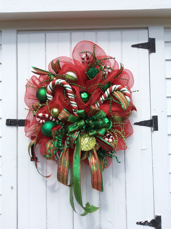 Christmas Deco Mesh Wreath, Christmas Mesh Wreath, Candy Cane Wreath, Christmas Door Wreath, Christmas Wreath Front Door, Wreath Christmas