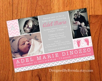 Combined Baby Shower Invitation and Birth Announcement - Pink and Grey Chevron can be any colors - With Photos and Monogram - Boy or Girl