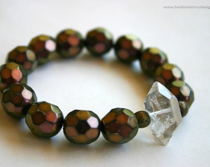 Smoky Vintage Beaded Crystal Bracelet - Dusty Rose