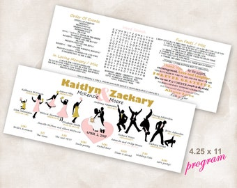 FINISHED Horizontal dancing Silhouettes bridal TimeLine word search Double Sided Wedding Program With Your Party, ALL you do is PRINT