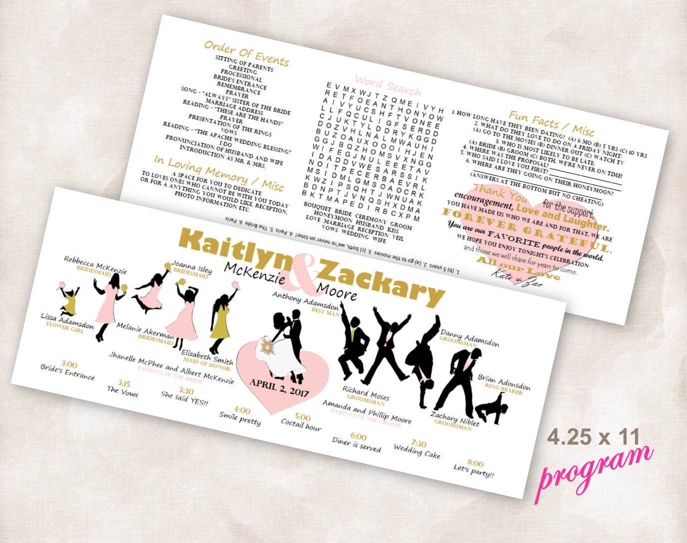 finished horizontal dancing silhouettes bridal timeline word search
