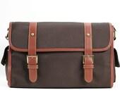 C106 Dark Brown Canvas Camera Bag w/ Shoulder Strap