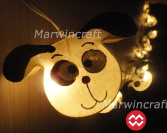Battery or Plug 20 Beagle Dog Paper Handmade Fairy String Lights Hanging Party Patio Wedding Garland Gift Home Living Bedroom Holiday Decor
