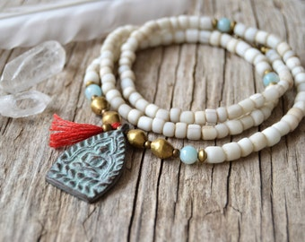 Buddha yoga necklace, bohemian necklace, ethnic jewelry, tassel jewelry, yoga jewelry, gift for her, Valentines Day