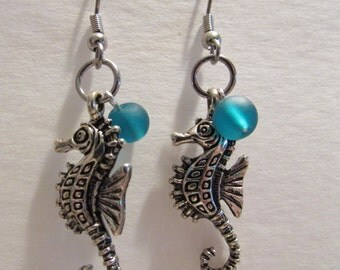 Seahorse Charm and Glass Bead Earrings