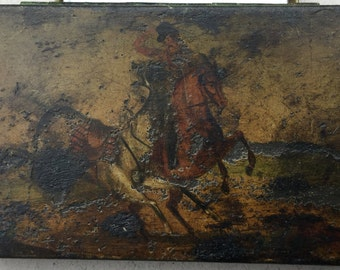 Antique metal tobacco tin, Hunting scene, Horse and rider, White horse, Huntsman, Rearing horse, Fox hunting box, Trinket, Jewellery