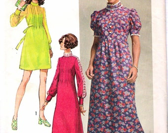 """Vintage 1970 Simplicity 9080 Young Contemporary Fashion One Piece Dress in Three Lengths Sewing Pattern Size 10 Bust 32 1/2"""""""