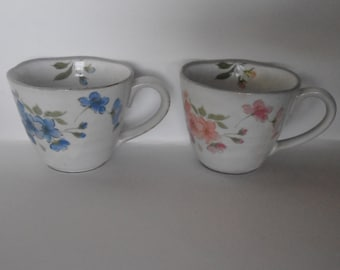Handmade pottery tea cups, pottery mugs, pottery flower mugs, china