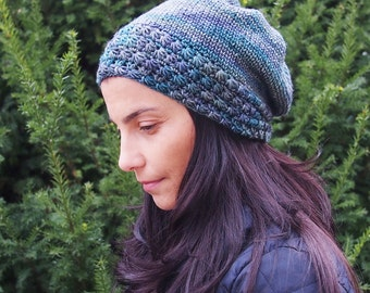 CROCHET PATTERN knit look slouch hat , star stitch woman hat , women slouchy beaniet, DIY, Instant download