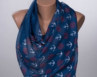 Men Sailor Scarf. Dark Blue and Red and White Summer scarf wrap. Long neck wrap. New Season Fathers Day.