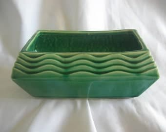 Emerald Green Rectangular Planter | McCOY USA | High Glaze | Vintage 1960s