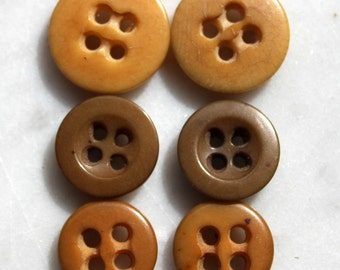 Vintage vegetable ivory buttons. taqua buttons. 4 holes -3 pairs-3/4 inch & 1/2 inch excellent condition. 1920 sewing notions
