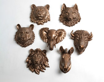 Faux Taxidermy - Create Your Own Zoo - Pick Any Five (5) Bronze Miniature Faux Taxidermy Pieces From the Picture to Create Your Own Zoo