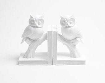 White Faux Taxidermy - The Owl Bookends - White Home Decor - Office Library Decor - Book Storage