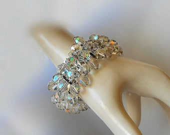Vintage Cha Cha Expansion Bracelet Faceted Glass Aurora Borealis Beads Silver Tone