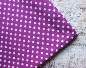 Vintage cotton fabric 3.21 yards in 1 listing Soviet purple lilac white polka dot chintz