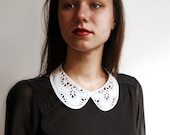 Leather lace collar necklace, White Peter Pan detachable collar necklace