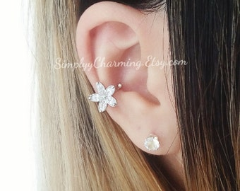 Flower Rose Cartilage Helix Ear Cuff Clip On Fake Earring Silver Tiny Earring Body Jewelry