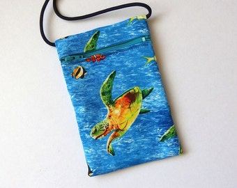 Pouch Zip Bag Green SEA TURTLE Fabric. Great for walkers markets travel.  Cell Phone Pouch. Many uses. Small blue fabric Purse. coin pouch