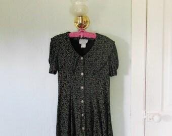 90s Black Swirl Pattern Sailor Collar Dress