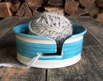 Yarn Bowl - Bright Stripe Series - Turquoise