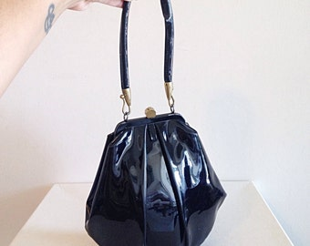 Vintage 1940s/1950s Black Patent Leather Pouch Purse Evening Bag