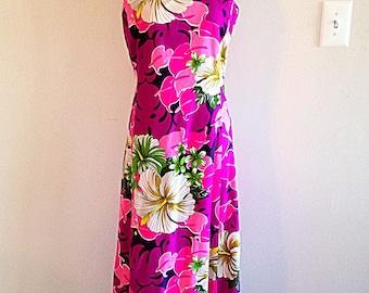 Vintage Pink Purple Hibiscus Flower Hawaiian Dress Tiki Time 1960s
