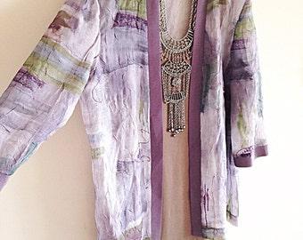 Vintage 1980s Boho Artsy Painterly Sheer Kimono Jacket