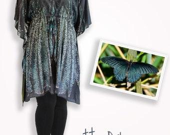 Dark gray & blue cotton silk butterfly caftan dress, summer dress bridesmaid gift idea, maternity tunic, sm - plus size top, cover up dress
