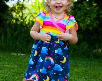 Bliss Rainbow Cross Front Dress