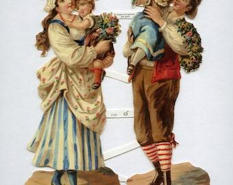 Victorian Parents SCRAP RELIEFS, Golden Scrap Reliefs, Scrap Reliefs, Victorian People, Victorian Die Cuts, Victorian Children,