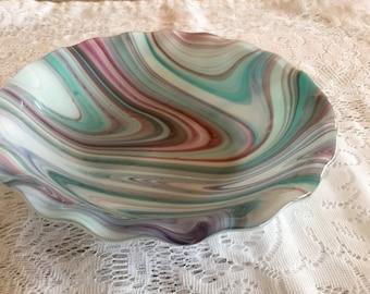 Fused Glass Bowl, Teal Purple Pink Art Glass Bowl, Kilnformed Serving Bowl