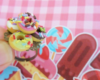 Mini Sprinkle Doughnut Stack Ring Food Jewelry Bakery Sweet Tiny Treat Dessert Accessory